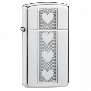 Зажигалка Zippo 28476 Heart Lighter Slim High Polish Chrome