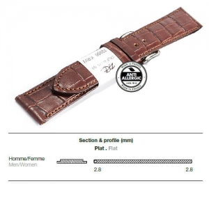 Ремешок кожаный ZRC 5492003ST-S MAT CALF ALLIGATOR BROWN 20MM